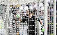 Calcio, Serie A: Juventus - Hellas Verona, Torino, Allianz Stadium, 19 maggio, 2018.<br /> Juventus' Captain and goalkeeper Gianluigi Buffon gestures to fans before the match.<br /> Juventus won their 34th Serie A title (scudetto) and seventh in succession.<br /> Gianluigi Buffon played his last match with Juventus today after 17 years.<br /> UPDATE IMAGES PRESS/Isabella Bonotto