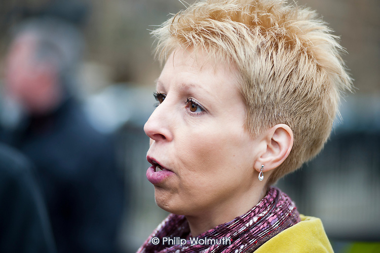 Deb Hazeldine, member of patient campaign group Cure The NHS, outside the launch of the Mid-Staffordshire NHS Foundation Trust Public Inquiry Report by Robert Francis QC.  Westminster, London.