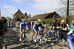 The breakaway including Pablo Lastras Garcia (ESP) Movistar Team and Tyler Farrar (USA) Garmin-Baracuda approach the start of the Koppenberg climb during the 96th edition of The Tour of Flanders 2012, running 256.9km from Bruges to Oudenaarde, Belgium. 1st April 2012. <br /> (Photo by Steven Franzoni/NEWSFILE).