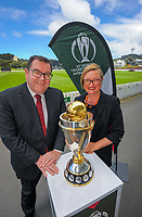 NZ Minister for Sport and recreation Grant Robertson (left) and ICC Women's Cricket World Cup chief executive Andrea Nelson with the tournament trophy. 2022 Women's Cricket World Cup tournament venues presser at the Basin Reserve in Wellington, New Zealand on Tuesday, 17 November 2020. Organisers for the 2022 Women's Cricket World Cup are welcoming a $2 million funding boost that will go towards upgrading player facilities at the five New Zealand venues for the tournament. Photo: Dave Lintott / lintottphoto.co.nz