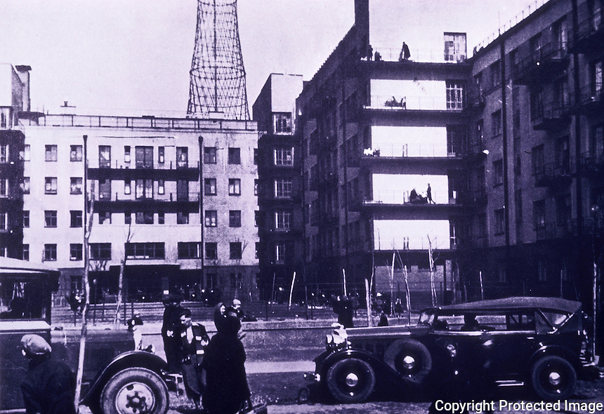Russia:  First Communal House, Moscow 1927-28.  G. Volfenzon.  Behind is Radio Tower, 1926.