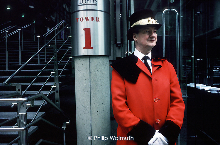 Doorman outside the Lloyds Building in the City of London.
