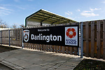 Welcome to Darlington sign near the Tin Shed End. Darlington 1883 v Southport, National League North, 16th February 2019. The reborn Darlington 1883 share a ground with the town's Rugby Union club. <br />