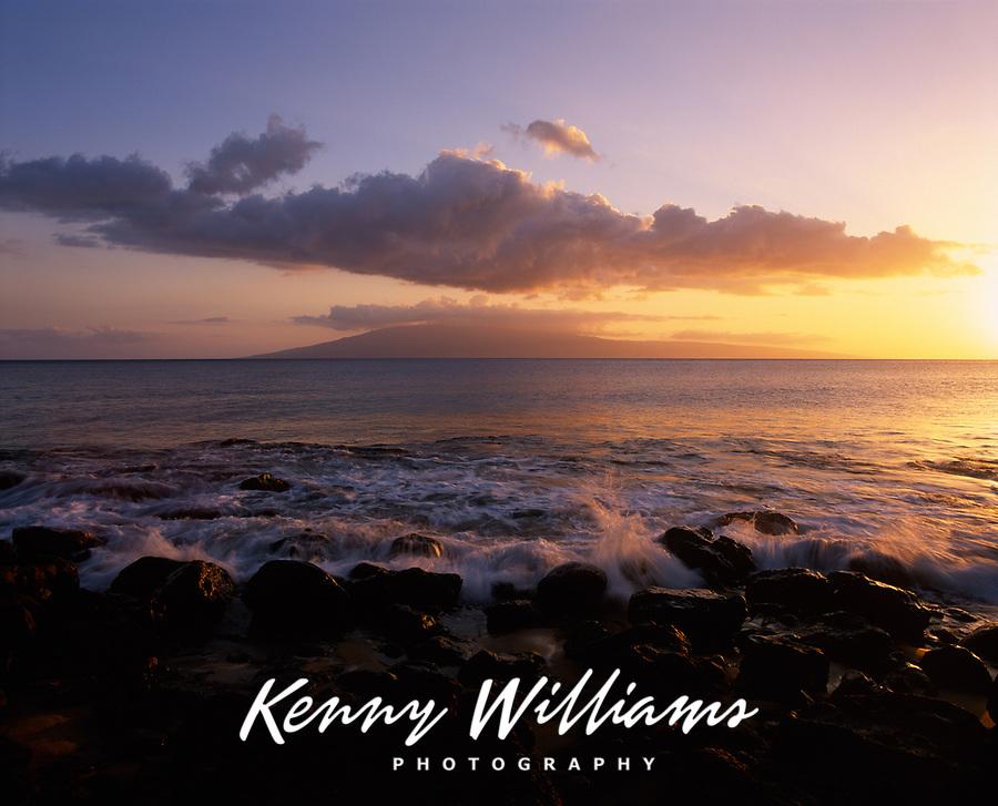 Hanakaoo Beach Park at Sunset, Island of Lanai in distance, Maui, Hawaii, USA.