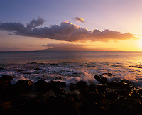 Hanakaoo Beach Park at Sunset, Island of Lanai in distance, Maui, Hawaii, USA.