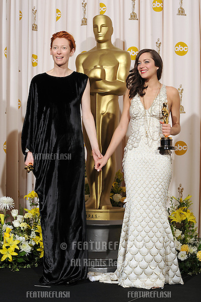 Tilda Swinton & Marion Cotillard at the 80th Annual Academy Awards at the Kodak Theatre, Hollywood..February 24, 2008 Los Angeles, CA.Picture: Paul Smith / Featureflash