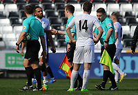 SWANSEA, WALES - MARCH 25: Adnan Maric of Swansea City shakes hands with the officials after the final whistle of the Premier League International Cup Semi Final match between Swansea City and Porto at The Liberty Stadium on March 25, 2017 in Swansea, Wales. (Photo by Athena Pictures)Athena Pictures)