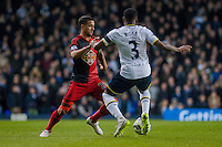 LONDON, ENGLAND - MARCH 04:   Kyle Naughton of Swansea City  takes the ball past  Danny Rose of Tottenham during the Premier League match between Tottenham Hotspur and Swansea City at White Hart Lane on March 4, 2015 in London, England.  (Photo by Athena Pictures/Getty Images)