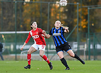 Noemie Gelders of Standard (10) pictured in a fight for the ball with Elle Decorte (7 Brugge) during a female soccer game between Standard Femina de Liege and Club Brugge YLA on the seventh matchday of the 2020 - 2021 season of Belgian Scooore Womens Super League , saturday 14 th of November 2020  in Angleur , Belgium . PHOTO SPORTPIX.BE | SPP | DAVID CATRY