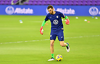 ORLANDO CITY, FL - JANUARY 31: Matt Turner of the United States warming up before a game between Trinidad and Tobago and USMNT at Exploria stadium on January 31, 2021 in Orlando City, Florida.
