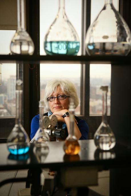 CCNY Professor Teresa Bandosz in her lab.  Photo by Ari Mintz.  3/21/2012.