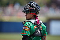 Down East Wood Ducks catcher Randy Florentino (23) on defense against the Kannapolis Cannon Ballers at Atrium Health Ballpark on May 9, 2021 in Kannapolis, North Carolina. (Brian Westerholt/Four Seam Images)