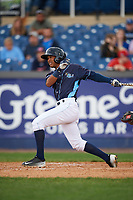 Wilmington Blue Rocks second baseman Jecksson Flores (4) at bat during the second game of a doubleheader against the Frederick Keys on May 14, 2017 at Daniel S. Frawley Stadium in Wilmington, Delaware.  Wilmington defeated Frederick 3-1.  (Mike Janes/Four Seam Images)