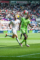 Jordi Amat of Swansea City  chases Raheem Sterling of Manchester City during the Barclays Premier League match between Swansea City and Manchester City played at the Liberty Stadium, Swansea on the 15th of May  2016