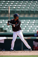 GCL Orioles Darell Hernaiz (1) at bat during a Gulf Coast League game against the GCL Red Sox on July 29, 2019 at Ed Smith Stadium in Sarasota, Florida.  GCL Red Sox defeated the GCL Pirates 9-1.  (Mike Janes/Four Seam Images)