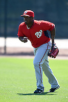 Washington Nationals outfielder Estarlin Martinez (7) during practice before a minor league spring training game against the Atlanta Braves on March 26, 2014 at Wide World of Sports in Orlando, Florida.  (Mike Janes/Four Seam Images)