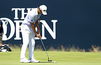 16th July 2021; Royal St Georges Golf Club, Sandwich, Kent, England; The Open Championship Tour Golf, Day Two; Collin Morikawa (USA) putts for a birdie on the 18th hole