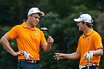 (L-R) Simon Zach of Czech Republic and Zachary Bauchou of USA prior to day 3 of the 9th Faldo Series Asia Grand Final 2014 golf tournament on March 20, 2015 at Faldo course in Mid Valley Golf Club in Shenzhen, China. Photo by Xaume Olleros / Power Sport Images