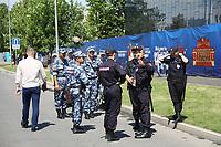 Polizei und Militär bewachen die Stadien bei der Fußball Weltmeisterschaft - 17.06.2018: Deutschland vs. Mexico, Luzhniki Stadium Moskau