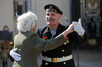 Moscow, Russia, 09/05/2010..A naval veteran dances with another veteran in Gorky Park to celebrate Victory Day.