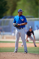 Toronto Blue Jays pitcher Kender Villegas (53) gets ready to deliver a pitch during a minor league Spring Training game against the New York Yankees on March 30, 2017 at the Englebert Complex in Dunedin, Florida.  (Mike Janes/Four Seam Images)