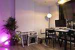 """© Joel Goodman - 07973 332324 - all rights reserved . 12/01/2020 . Salford , UK . Dining area cum office of the rented flat of Kayne Lewis (25) , which he shares with Chase (the 5 month old Chihuahua) and some fish , in apartment block """"Duet"""" , on Salford Quays in Greater Manchester . Photo credit : Joel Goodman"""