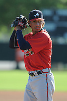 Pitcher Aaron Kurcz (16) of the Atlanta Braves farm system in a Minor League Spring Training workout on Tuesday, March 17, 2015, at the ESPN Wide World of Sports Complex in Lake Buena Vista, Florida. (Tom Priddy/Four Seam Images)