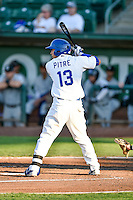 Gersel Pitre (13) of the Ogden Raptors at bat against the Grand Junction Rockies in Pioneer League action at Lindquist Field on August 24, 2016 in Ogden, Utah. The Raptors defeated the Rockies 11-10. (Stephen Smith/Four Seam Images)