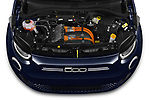 Car Stock 2021 Fiat 500C La-Prima 2 Door Convertible Engine  high angle detail view