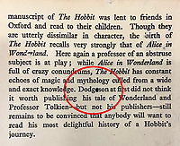 BNPS.co.uk (01202) 558833. <br /> Pic: HeritageAuctions/BNPS<br /> <br /> Pictured: Dodgeson handcorrected to Dodgson on the dust jacket. <br /> <br /> A rare first edition of JRR Tolkien's The Hobbit which has numerous spelling mistakes has sold for £46,000 ($60,000) after sparking a bidding war.<br /> <br /> Some 1,500 copies of the middle earth fantasy novel were published in September 1937, selling out by the end of the year.<br /> <br /> The book contains 16 misprints which were corrected in later editions by the publishers George Allen & Unwin Ltd.<br /> <br /> This example, which is in its colourful original dust jacket, was sold with Heritage Auctions, of Dallas, Texas.<br /> <br /> It had been expected to sell for £15,000 but fetched three times its estimate.
