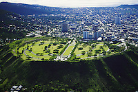 Aerial of Punchbowl crater, National memorial cemetary of the Pacific