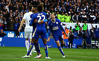 Marc Albrighton of Leicester City celebrates scoring his goal to make the score 4-0 during the Barclays Premier League match between Leicester City and Swansea City played at The King Power Stadium, Leicester on 24th April 2016