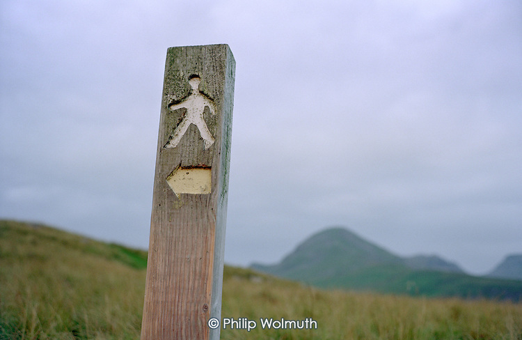 Public footpath leading to the summit of Cnicht, above the village of Croesor in the Snowdonia National Park.