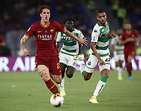 Football, Serie A: AS Roma - Sassuolo, Olympic stadium, Rome, September 15, 2019. <br /> Roma's Nicolò Zaniolo (l) in action with Sassuolo's Jeremy Tolian (r) during the Italian Serie A football match between Roma and Sassuolo at Olympic stadium in Rome, on September 15, 2019.<br /> UPDATE IMAGES PRESS/Isabella Bonotto