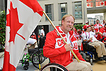 LONDON, ENGLAND – 08/26/2012:  Flag Bearer Garett Hickling at Canada's Pep-Rally at the London 2012 Paralympic Games. (Photo by Phillip MacCallum /Canadian Paralympic Committee)