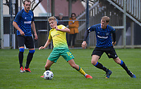 Ben Old (left) and Sam Dewar during the Central League football match between Miramar Rangers and Lower Hutt AFC at David Farrington Park in Wellington, New Zealand on Saturday, 10 April 2021. Photo: Dave Lintott / lintottphoto.co.nz