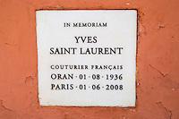 The final resting place of Yves Saint Laurent, the Majorelle Garden, Marrakech, Morocco