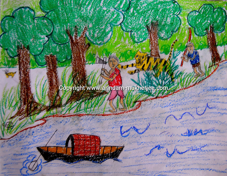 """A drawing by Soumitra Mondal. age - 11 studing in the 6th standard in Rangabelia High school. This drawing stood 1st in a drawing competition where the theme was """"relation of forest and human"""". Sunderban, West Bangal, India. May 2011. Arindam Mukherjee"""