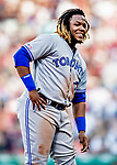 22 June 2019: Toronto Blue Jays third baseman Vladimir Guerrero Jr. looks back to the dugout during a game against the Boston Red Sox at Fenway :Park in Boston, MA. The Blue Jays rallied to defeat the Red Sox 8-7 in the 2nd game of their 3-game series. Mandatory Credit: Ed Wolfstein Photo *** RAW (NEF) Image File Available ***