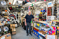 BNPS.co.uk (01202 558833)<br /> Pic: MaxWillcock/BNPS<br /> <br /> Pictured: Ray in his shop Britbits.<br /> <br /> Tireless Ray Fisher still works full-time in the motorcycle shop he opened 62 years ago - and he has plenty left in the tank.<br /> <br /> The 85 year old founded Ray Fisher's Brickbits in Christchurch, Dorset, in 1959 after training as a bike mechanic.<br /> <br /> It is a family affair as his two children Gerry, 58, and Stephanie, 54, have both worked solely for him since leaving school aged 16.<br /> <br /> Ray said he had loved bikes since childhood and learnt how to repair them while doing national service in the early 1950s.