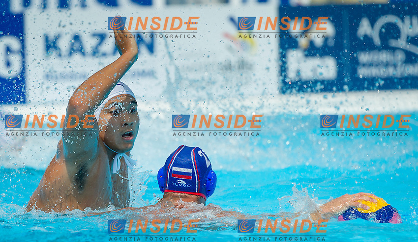 CHN-RUS<br /> China - Russia<br /> LI Li CHN<br /> BUGAYCHUK Alexey RUS<br /> Day 10 02/08/2015<br /> XVI FINA World Championships Aquatics<br /> Waterpolo<br /> Kazan Tatarstan RUS July 24 - Aug. 9 2015 <br /> Photo Pasquale Mesiano/Deepbluemedia/Insidefoto