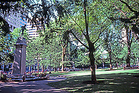 """Portland: One of three """"Plaza Blocks"""" between SW 3rd & SW 4th. A memorial to Dead of 2nd Oregon U.S. Infantry 1904."""