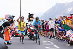 Nairo Quintana (COL) Movistar Team solo attack on the Col du Galibier during Stage 18 of the 2019 Tour de France running 208km from Embrun to Valloire, France. 25th July 2019.<br /> Picture: ProShots/George Deswijzen | Cyclefile<br /> All photos usage must carry mandatory copyright credit (© Cyclefile | ProShots/George Deswijzen)