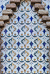 Mosaic tiles at Poble Espanyol complex in Barcelona, Spain.<br />