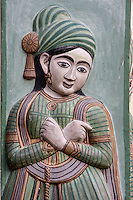 Jaipur, Rajasthan, India.  Figure on the Right Portal of the Peacock Gate, City Palace.