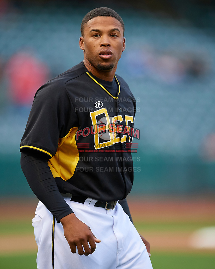 Sherman Johnson (3) of the Salt Lake Bees during the game against the Fresno Grizzlies in Pacific Coast League action at Smith's Ballpark on April 17, 2017 in Salt Lake City, Utah. The Bees defeated the Grizzlies 6-2. (Stephen Smith/Four Seam Images)
