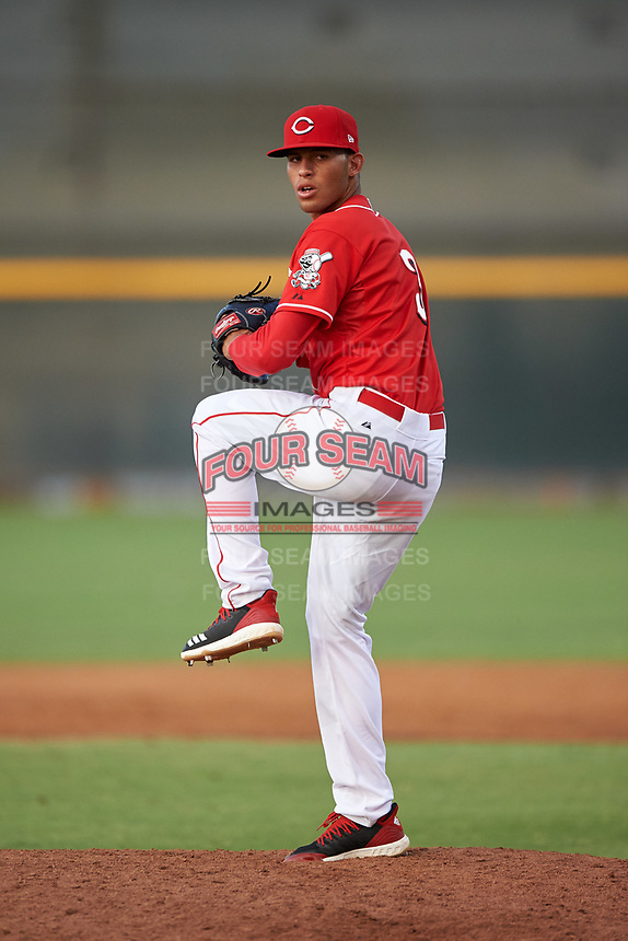 AZL Reds relief pitcher Dannysmel Tavarez (3) during an Arizona League game against the AZL Athletics Green on July 21, 2019 at the Cincinnati Reds Spring Training Complex in Goodyear, Arizona. The AZL Reds defeated the AZL Athletics Green 8-6. (Zachary Lucy/Four Seam Images)