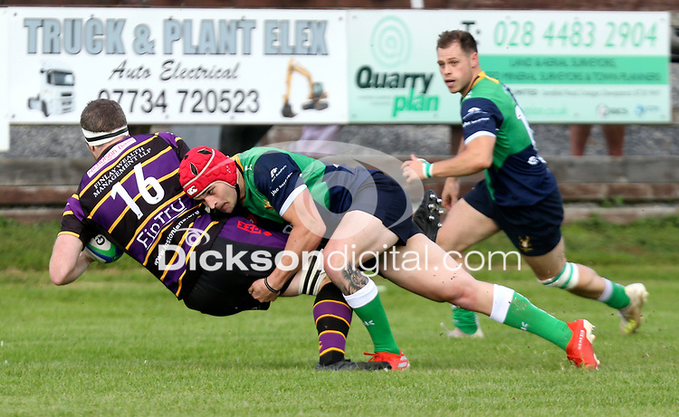 Saturday 25th September 2021<br /> <br /> Robert Whitten is tackled by Robert Whitten during the Ulster Conference League clash between Ballynahinch 2s and Instonians at Ballymacarn Park, Ballynahinch, County Down, Northern Ireland. Photo by John Dickson/Dicksondigital