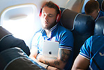 Spartak Trnava v St Johnstone...06.08.14  Europa League Qualifier 3rd Round<br /> Stevie May gets some sleep on the flight to Bratislava.<br /> Picture by Graeme Hart.<br /> Copyright Perthshire Picture Agency<br /> Tel: 01738 623350  Mobile: 07990 594431