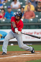 Oklahoma City Redhawks outfielder Adron Chambers #2 swings the bat during the Pacific Coast League baseball game against the Round Rock Express on April 3, 2014 at the Dell Diamond in Round Rock, Texas. The Redhawks defeated the Express 7-6 in the season opener for both teams. (Andrew Woolley/Four Seam Images)